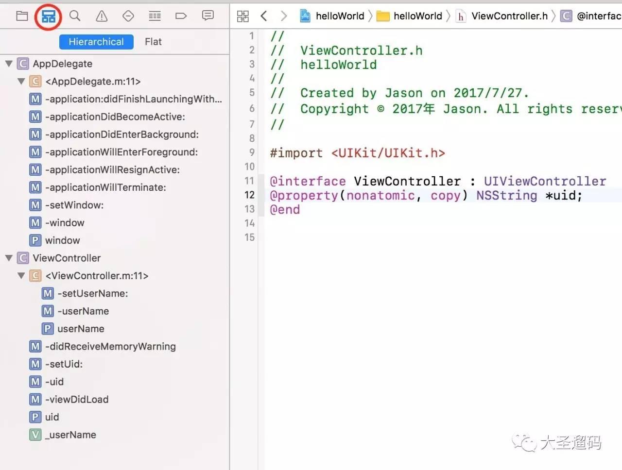 使用这个面板可以对工作区中所有文件进行搜索。当然,通常有搜索都有替换功能,如图3-1:  图3-1 查找导航面板   Xcode的查找功能其实非常强大,如图3-2所示,Xcode支持查找文字、引用和定义,甚至还支持正则表达式和调用层级查找。并且还有包含、匹配等查找模式。  图3-2 强大的查找功能   举个例子,我想要查找引号中间的汉字,就可以直接写个正则表达式