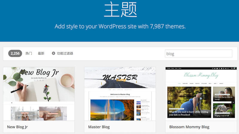 图:WordPress 的丰富主题